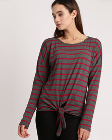 Utopia Stripe Slouch Top Charcoal/ Burgundy