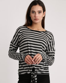 Utopia Stripe Slouch Top Black/White