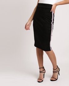 Utopia Pencil Skirt With Tape Stripe Black