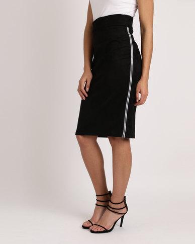 Utopia Black Pencil Skirt With Black/White Tape Stripe