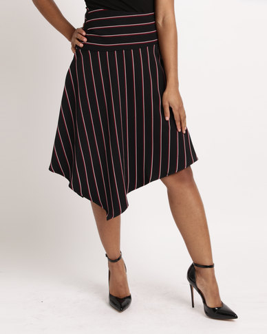 Utopia Stripe Assymetrical Skirt Black