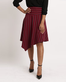 Utopia Stripe Assymetrical Skirt Burgundy
