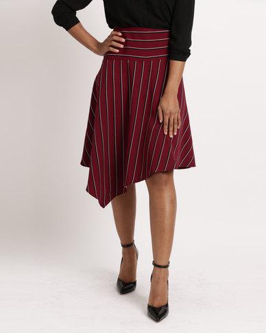 Utopia Stripe Assymetrical Skirt Burgundy