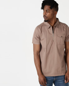 Process Black Hyper Zip Polo Taupe