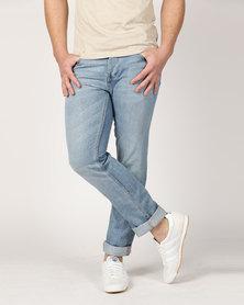 Crosshatch Janson Jeans with Belt Light Wash