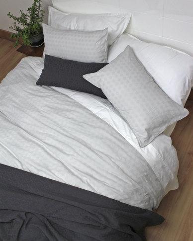Sheraton Aurora European Collection 100% Cotton Jacquard Duvet Cover Set Grey