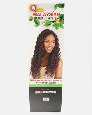 Que Malaysian Reggae Twist Weave 5 Piece Bundle 1B Off Black b353bd0cd0