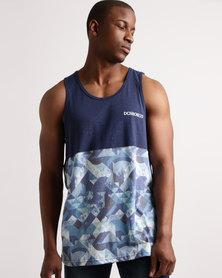 DC Rusto Geo Vest Summer Blue Printed Slub