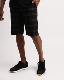 DC Alsden Walkshorts Check Black & Red