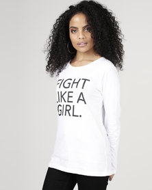 T-Shirts For Change Fight Like a Girl Long Sleeve Tee White