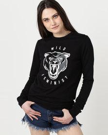T-Shirts For Change Wild Feminist Sweatshirt Black