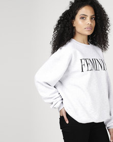 T-Shirts For Change Feminist Sweatshirt Grey