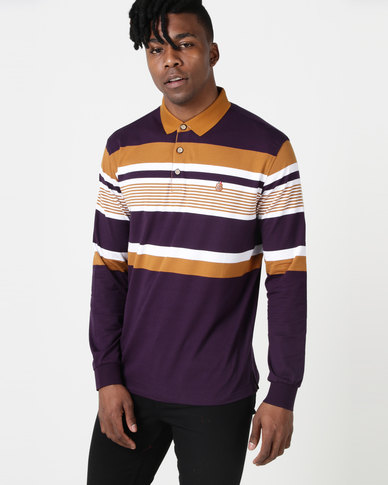 de5ca0634 KG Chest Stripe Long Sleeve Golfer Purple Brone White