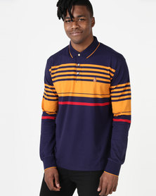 KG Chest Stripe Long Sleeve Golfer Navy/Toffee/Red