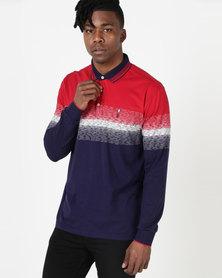 KG Space Dye Stripe Long Sleeve Golfer Navy/Red