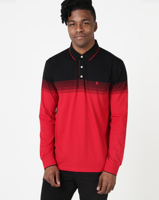 KG Ombre Stripe Long Sleeve Golfer Red/Black