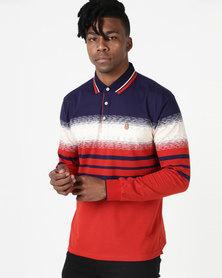 KG Fashion Stripe Long Sleeve Golfer Red/Navy/Cream