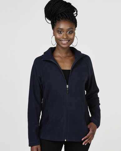 Highland Brook Classic Microfibre Fleece Zip Through Navy