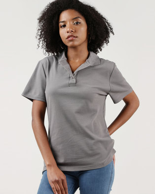 Ultimate T Classic Pique Knit Polo Slate Grey