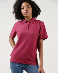 Ultimate T Classic Pique Knit Polo Maroon