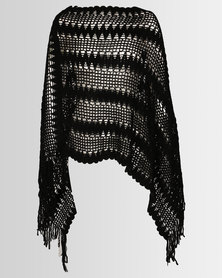 Joy Collectables Crochet Poncho Black