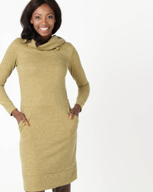 Holly Blue Collar Knit Dress Melange Gold