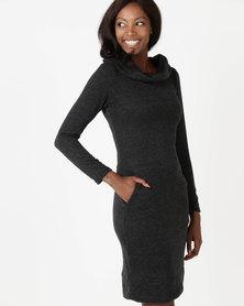 Holly Blue Collar Knit Dress Melange Black