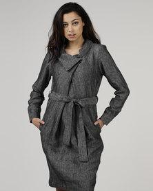 Jenja Soft Collar Dress Charcoal