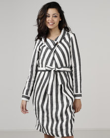 Jenja Soft Collar Dress Charcoal Stripe