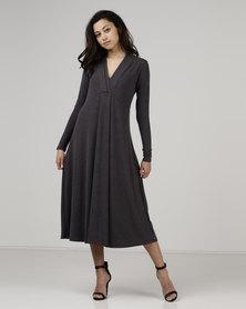 Jenja Pleat Front Knit Dress Coffee Melange
