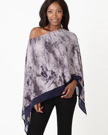 Kaku Designs Tie Dye With Chiffon Trim Poncho Grey