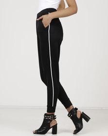 Wae West Side White Stripe Trousers Black