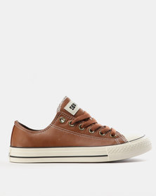 Soviet Viper PU Fash Basic PU Low Cut Lace Up Sneakers Rust/Choc