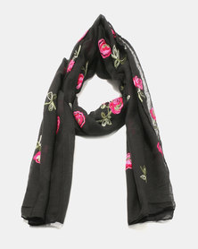 Lily & Rose Light Knit Floral Design Scarf Black