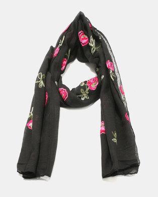 Lily & Rose Light Knit Floral Design Scarf Black