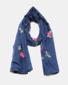 Lily & Rose Light Knit Floral Design Scarf Navy