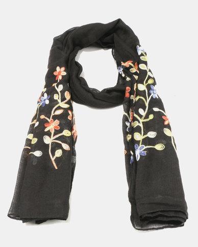 Lily & Rose Light Knit Secret Garden Scarf Black