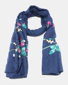 Lily & Rose Light Knit Blossom Scarf Navy