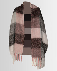 Lily & Rose Medium Knit Large Check Scarf Red/Grey