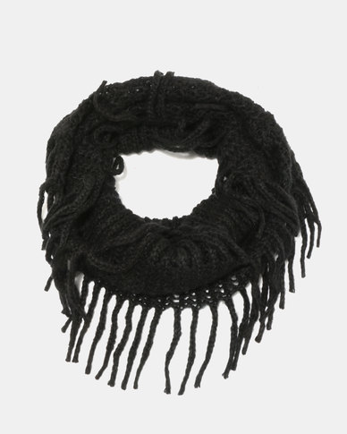 Lily & Rose Knitted Black Scarf Black