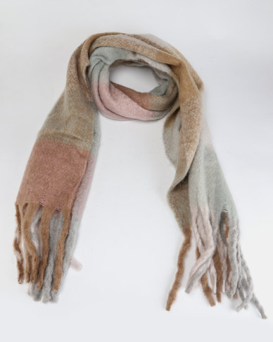 Lily & Rose Medium Knit Neutral Large Check Scarf Neutral