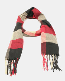 Lily & Rose Medium Knit Check Red Scarf Red