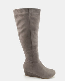 Bata Long Wedge Heeled Boots Grey