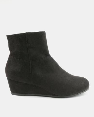 Bata Wedge Dress Heel Boots Black