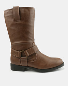 Bata Flat Boots With Detail Brown