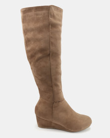 Bata Long Wedge Heeled Boots Beige
