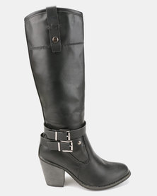 Bata Long Heeled Boot with Buckle Detail Black