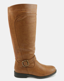 Bata Flat Boots With Buckle Detail Brown