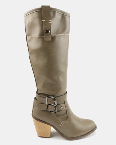 Bata Long Heeled Boots With Buckle Detail Taupe