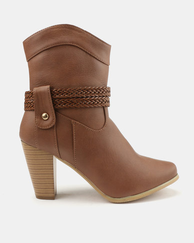 a94d2b3cc93f Bata Heeled Ankle Boots With Buckle Detail Brown